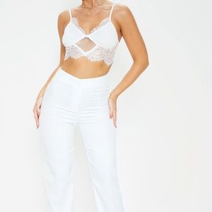 Cream High Wasted Straight Leg Pants (W/ TAGS)